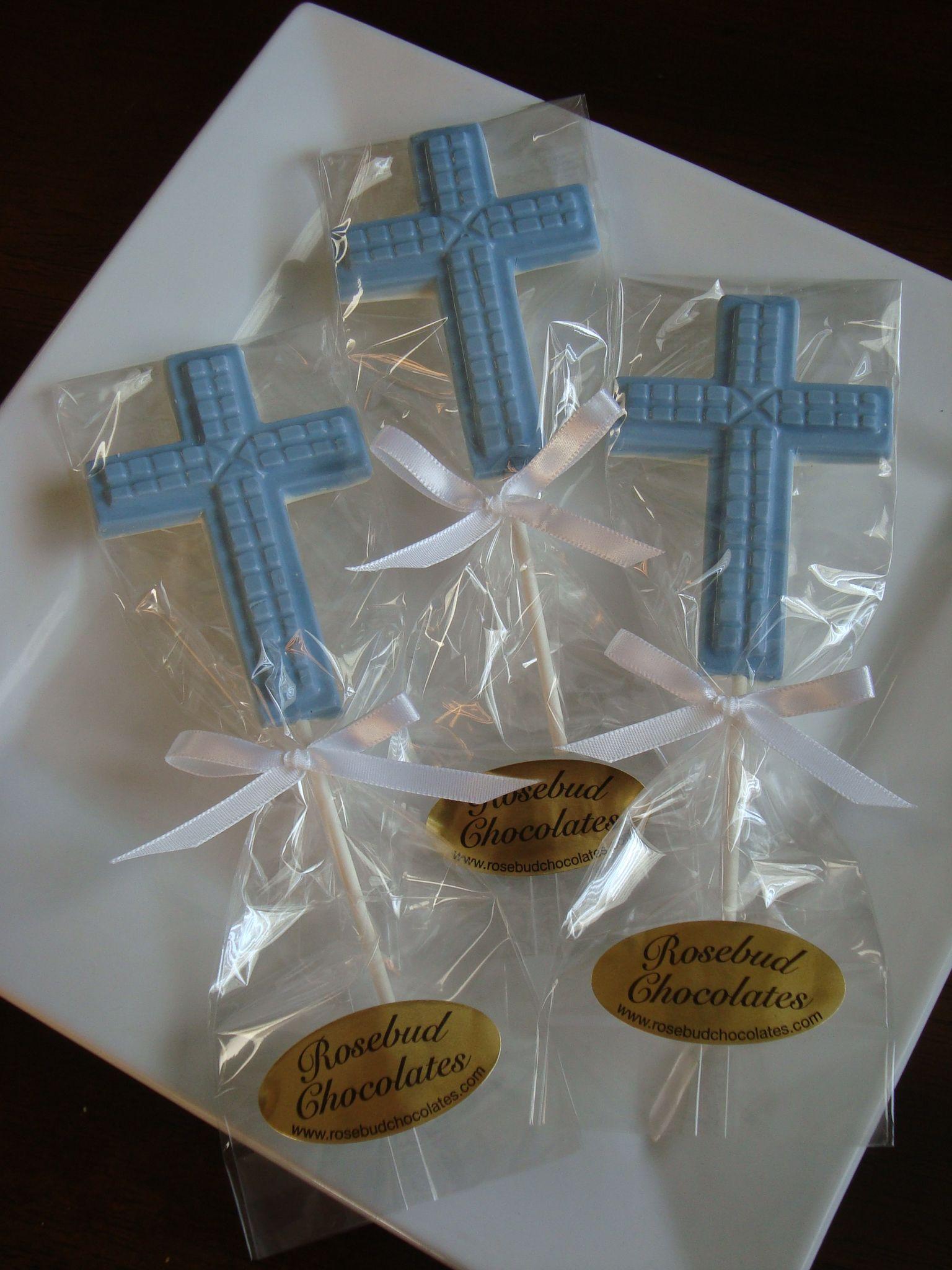 Vanilla White Chocolate Blue Cube Cross Lollipops