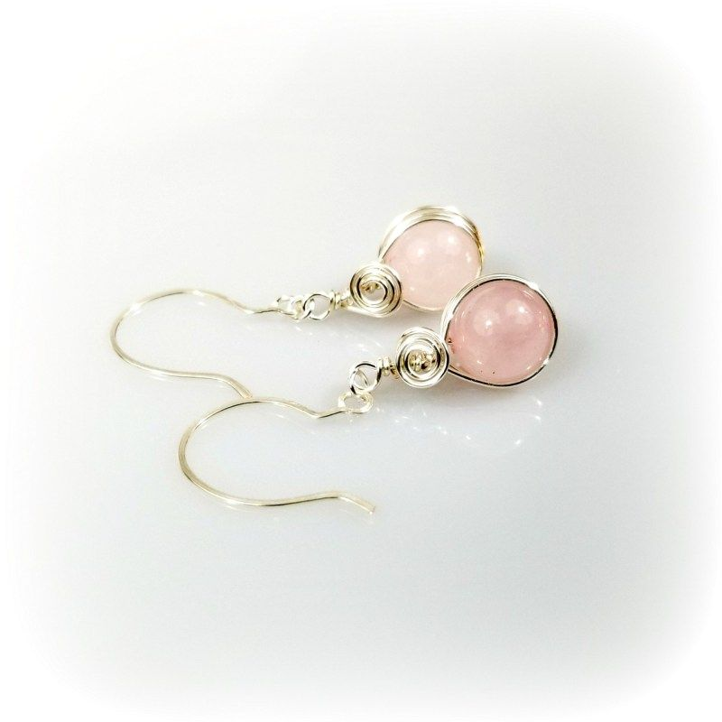 Wrapped Pink Stone Rose Qts Earrings