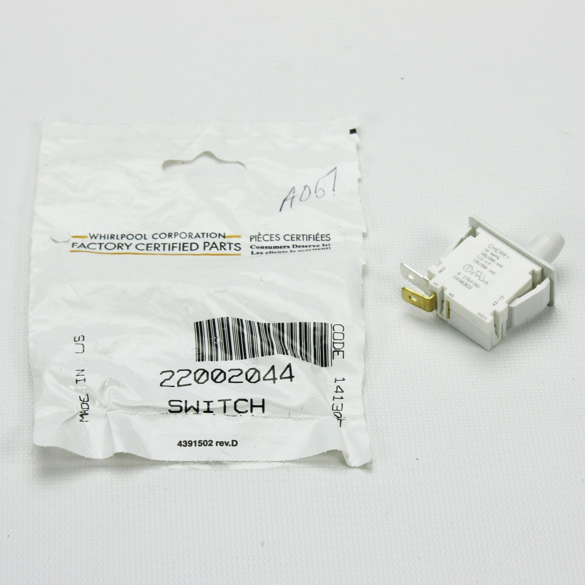 Genuine OEM 22002044 Washer Tub Displacement Switch | Out of Balance