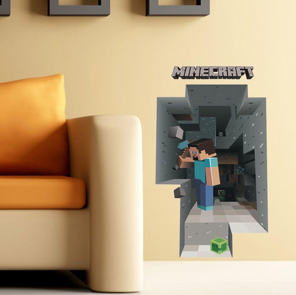 3D MINECRAFT wall decor sticker home kids game VINYL Decoration HOT ...