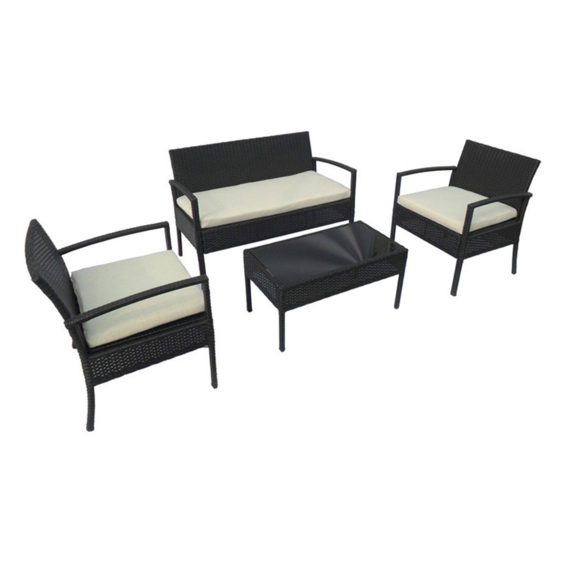 Outdoor Aleko Products Linosa Rattan Wicker 4 Piece Patio Conversation