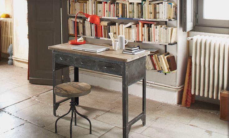 bureau industriel naturel jackson les bureaux adultes les bureaux bureau d coration d. Black Bedroom Furniture Sets. Home Design Ideas