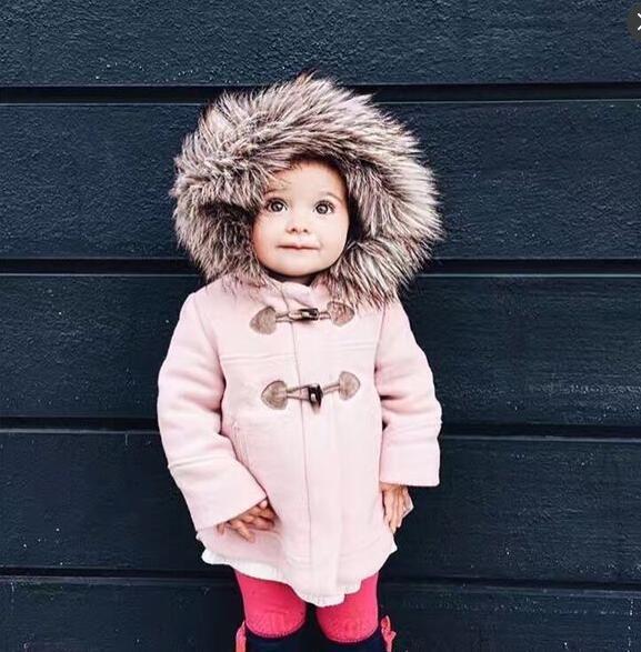 2016 Nova Elegante Casaco De Pele Chapéu Morno do Inverno do Bebê Bonito Meninas de Boa Qualidade Amassado Jaqueta F860
