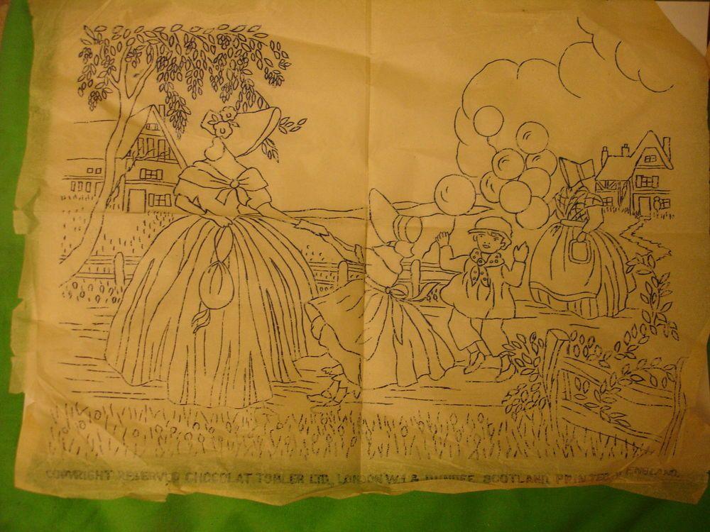 Tobler Vintage Transfer Crinoline Lady & Children Size12 x 9ins in ...