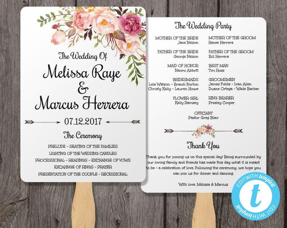 Wedding program fan template bohemian floral instant download diy