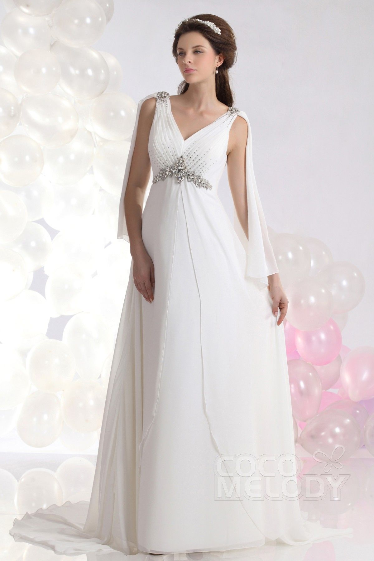 Chiffon wedding dresses  Perfect SheathColumn VNeck Court Train Chiffon Wedding Dress