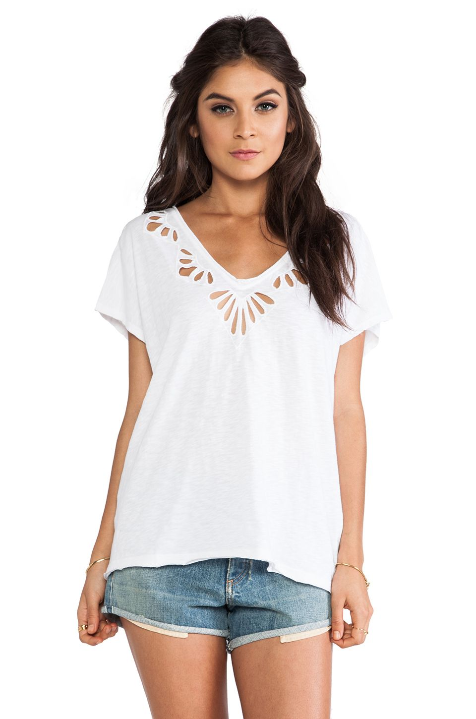 Free People Cut Work Double V Tee in White from REVOLVEclothing