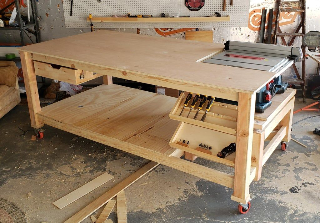 First Simple Workbench With Integrated Table Saw Woodworking Table Saw Workbench Table Saw Diy Table Saw