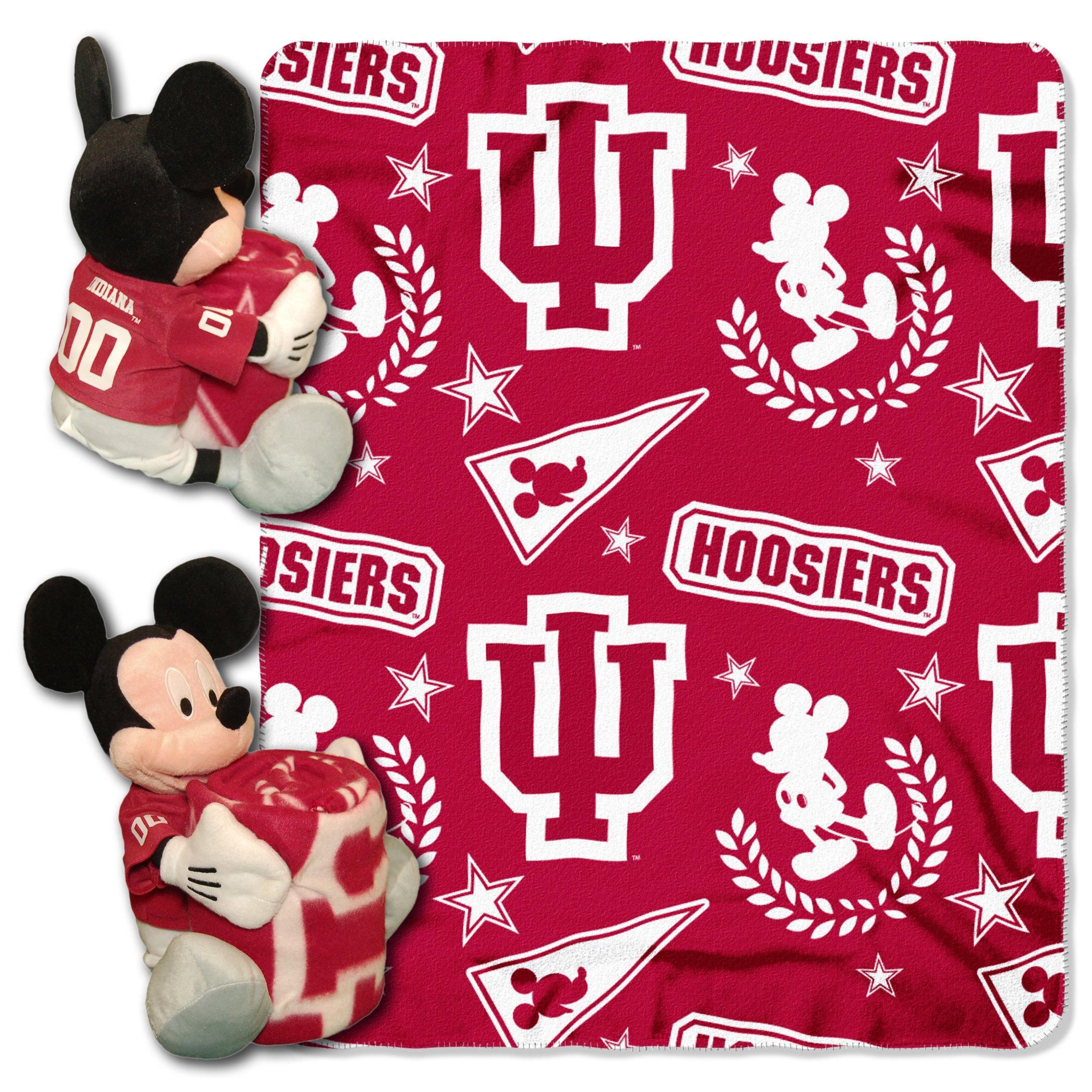 40 x 50 Officially Licensed NCAA Co-Branded Disneys Mickey Mouse Hugger and Fleece Throw Blanket Set Multi Color