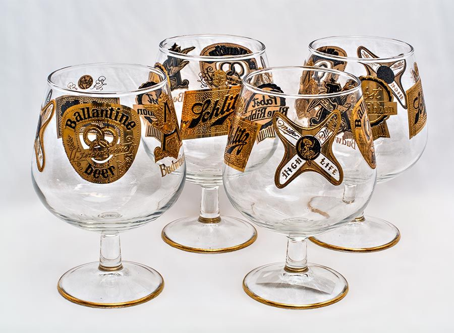 A set of four Culver beer snifters with 22k beer labels.   American, c. 1960.   For more information please email us or call 508-228-0960.