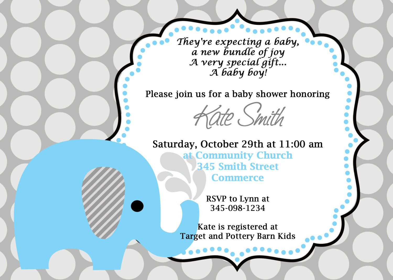 Printable Blue Elephant Baby Shower Invitation Customized Cute Birthday 800 Via Etsy