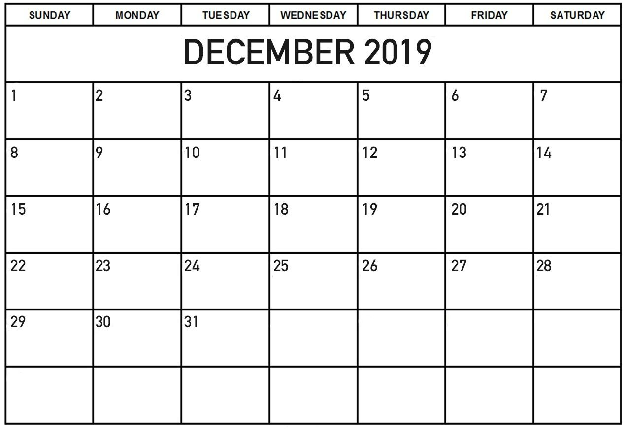 Monthly Calendar For December Printable Template