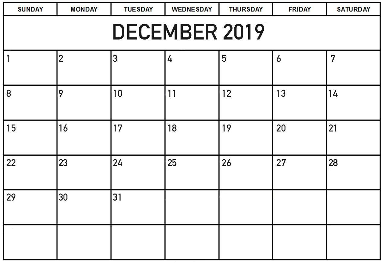 Monthly Calendar For December Printable Template