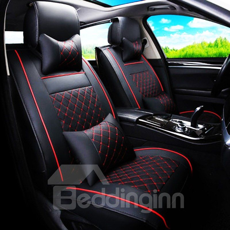 Classic Business Style Plaid With Trims Design Universal Car Seat Cover Beddinginn Com Leather Car Seat Covers Car Seats Best Car Seats