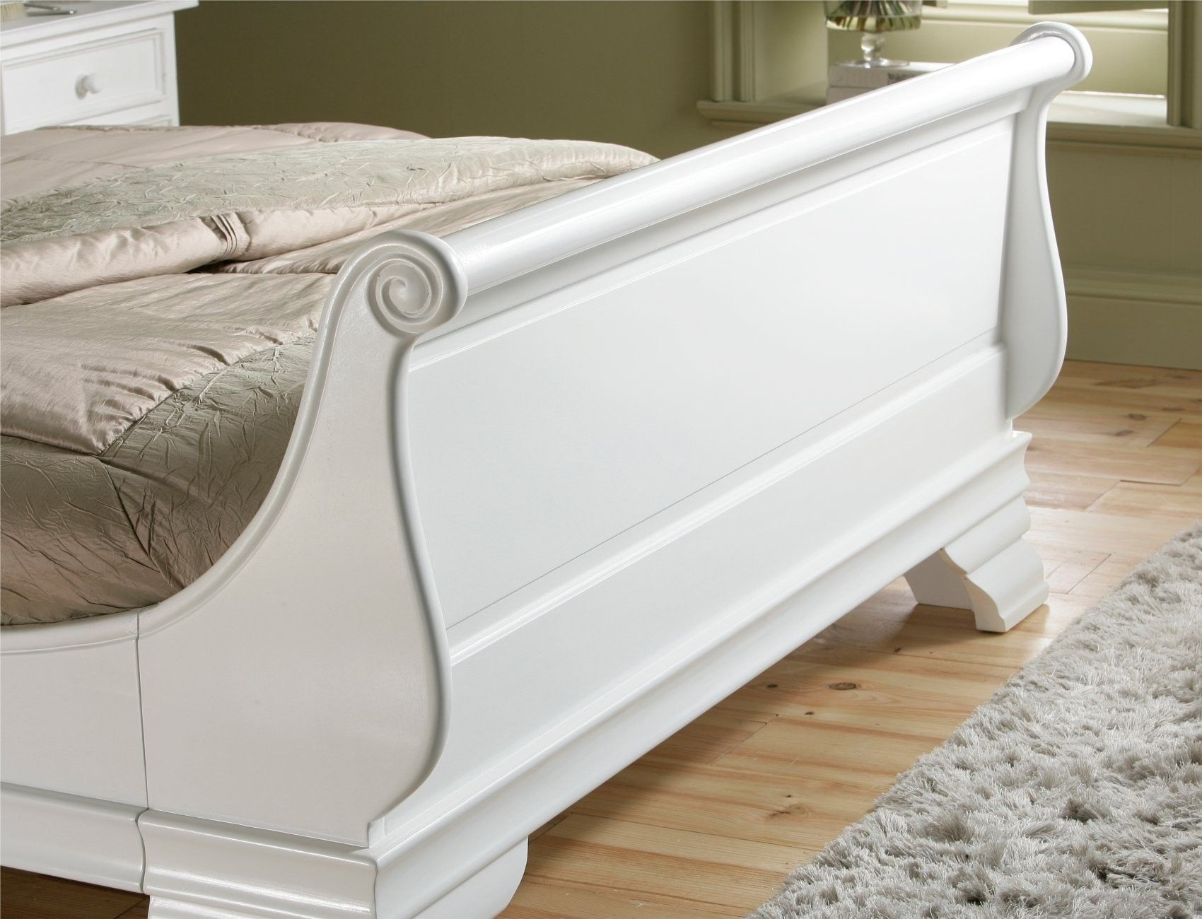 - Bordeaux French Style White Wooden Sleigh Bed - King Size Bed