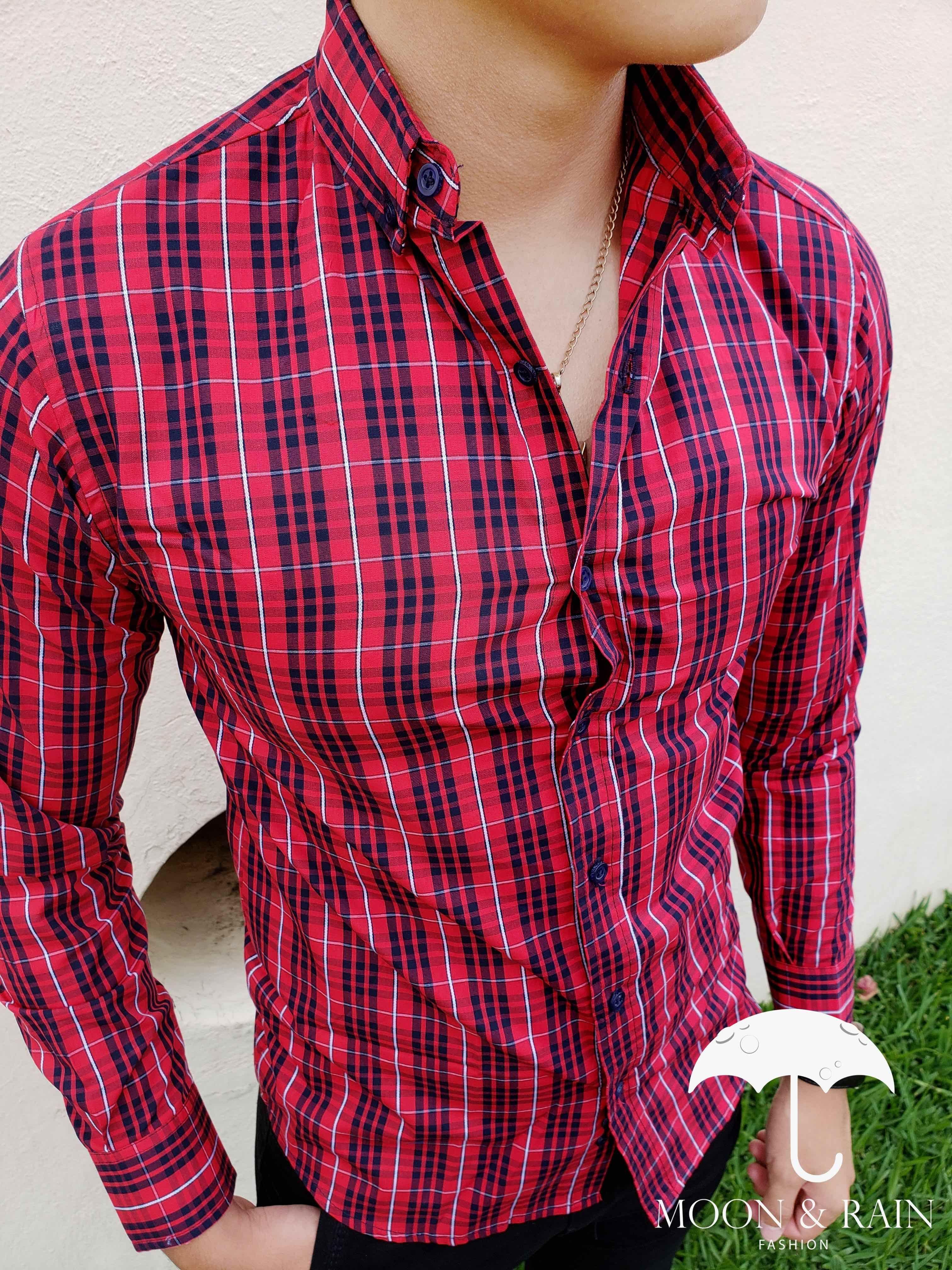 design di Platinum biancheEsclusivo Stores con Fit per rosso nere MoonRain Camicia uomo e Slim strisce cornici rBoWedxC
