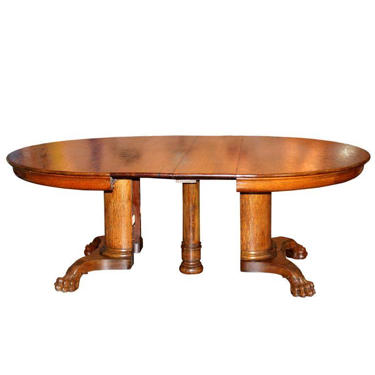 1stdibs | Large Antique Oak Pedestal Dining Table