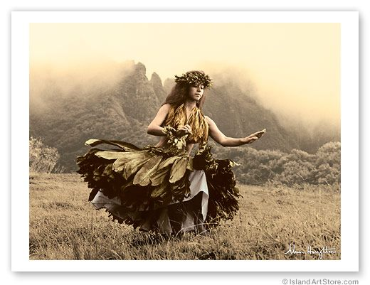 Hawaiian Vintage Photograph Poster Hawaii Hula Dancer