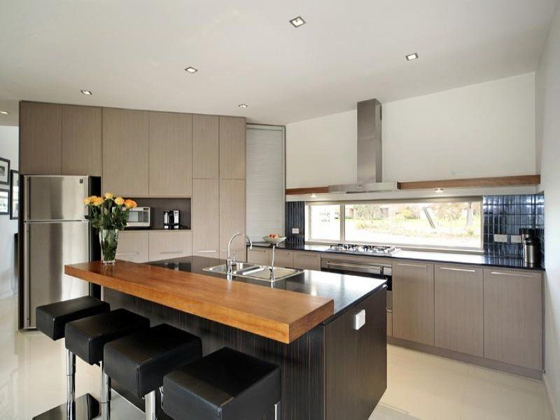 Modern Kitchen With Island Black Wooden Kitchen Island Breakfast Bar With Natural Wooden .