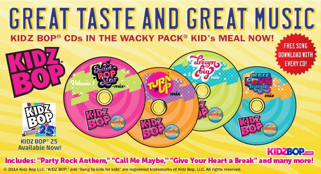 Sonic Drive In Coupon For 1 99 Wacky Pack Kid S Meal Sonic Drive In Kids Meals Kids Bop
