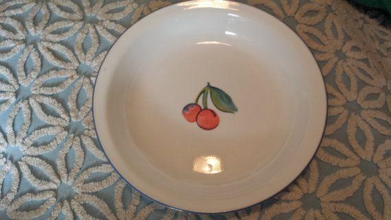 SALE vintage cherry red corelle pyrex corning 10 blue plate pie plate tart dish fruit basket ovenware usa ovenware milk glass desert & Vintage cherry red corelle pyrex corning 10 blue plate pie plate ...