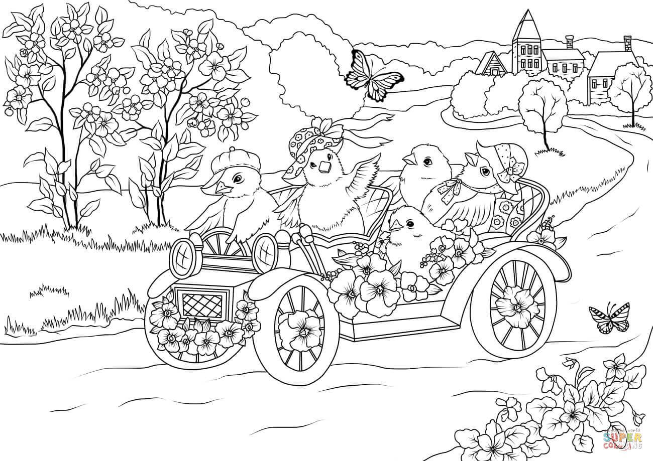 Easter Chickens In The Retro Car Are Leaving The Village Coloring