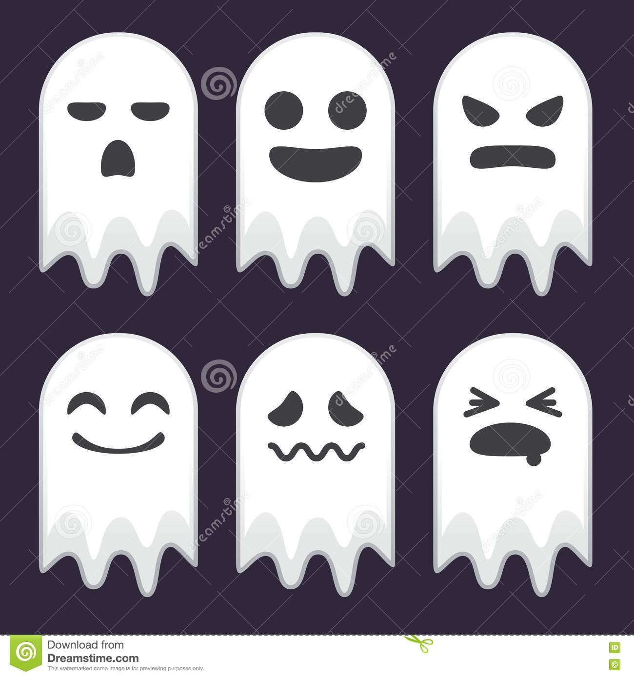 Collection Of Cute Ghost With Different Face Expression Stock