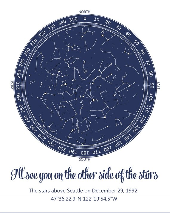 Constellation Chart Birthday Star Map Night Sky Custom Personalized Printable