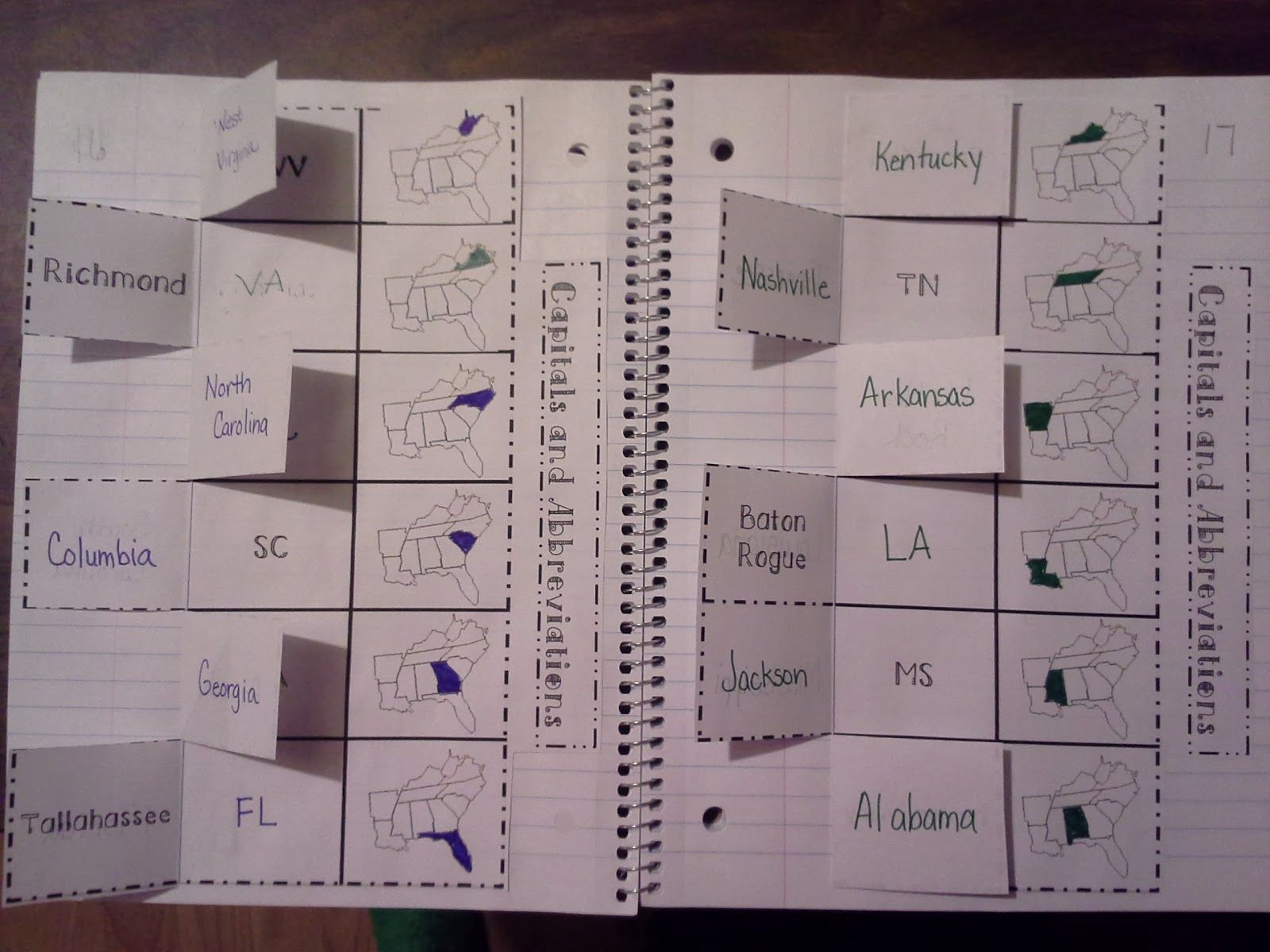 States And Capitals Foldables
