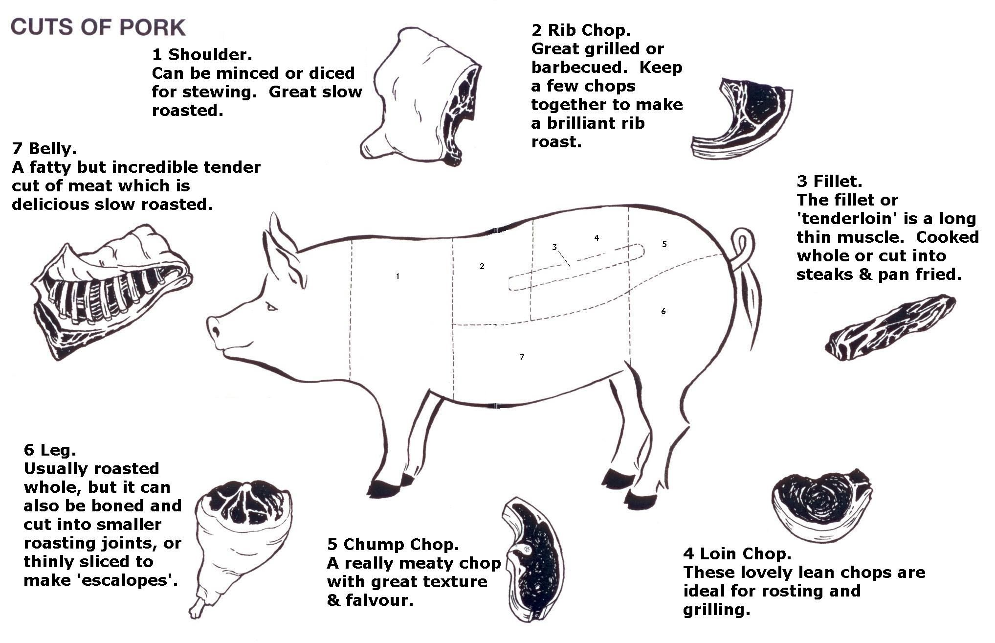 Diagram of cuts of pork. Photo courtesy of: http ...