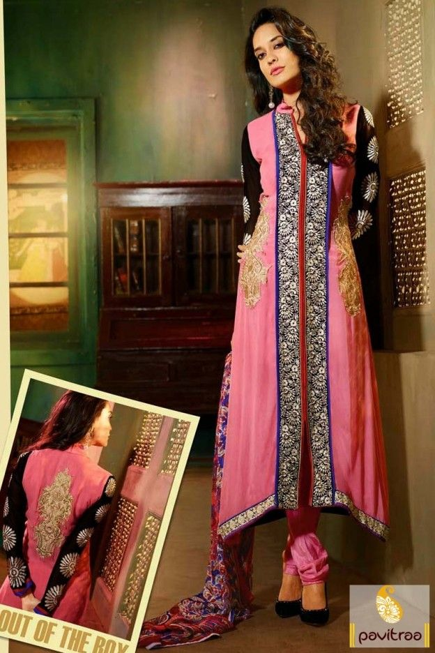 color party wear salwar suit designed by heavy embroidery butta work on front back part sleeves and border part with matching dupatta and bottom