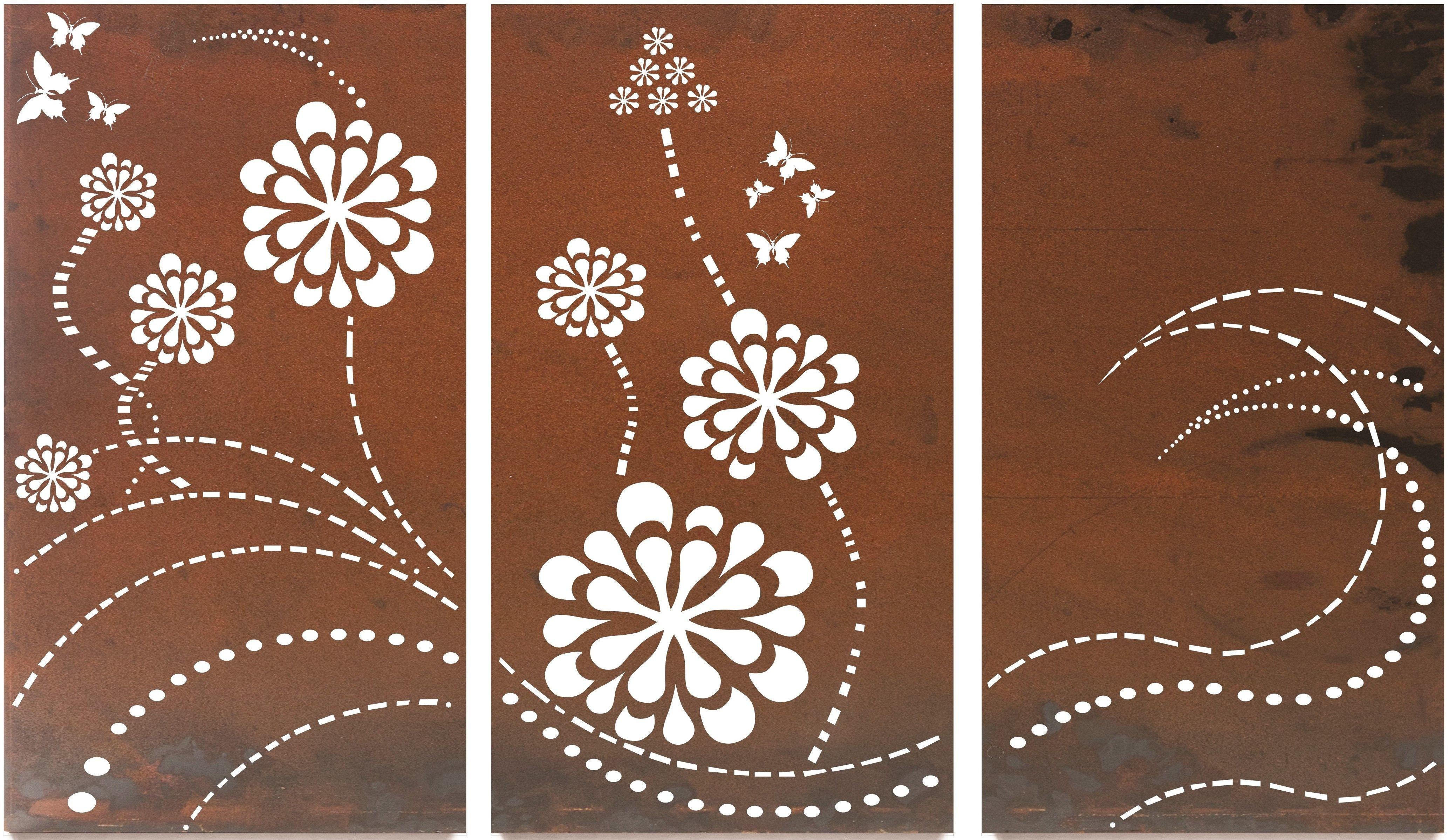 Flower Wave Triptych Large metal wall art, Metal garden