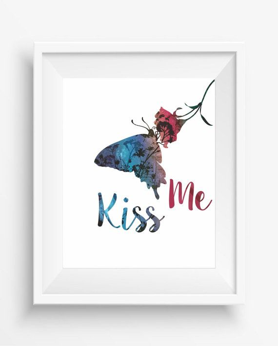 watercolour butterfly,butterfly ,kiss me,,digital art print,butterfly home decor,room decor,digital art print,girl room decor,