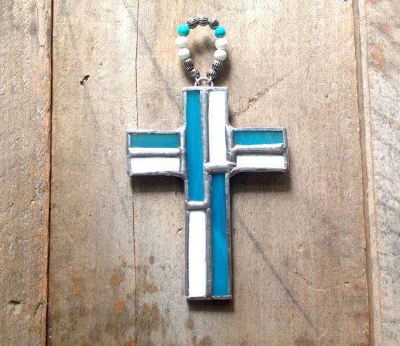Blue white decor Christian gift blue cross by SunDogArtAndGlass