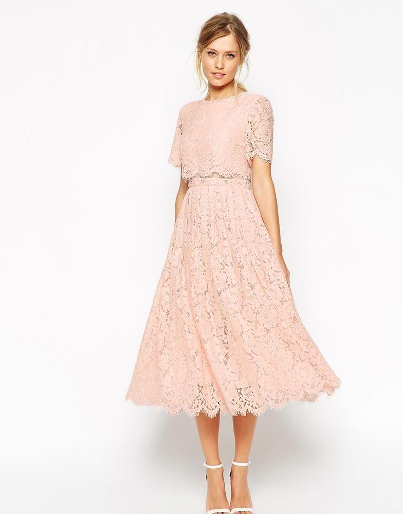 ASOS SALON Lace Crop Top Midi Prom Dress UK 8 - EU 36 -US 4 ...