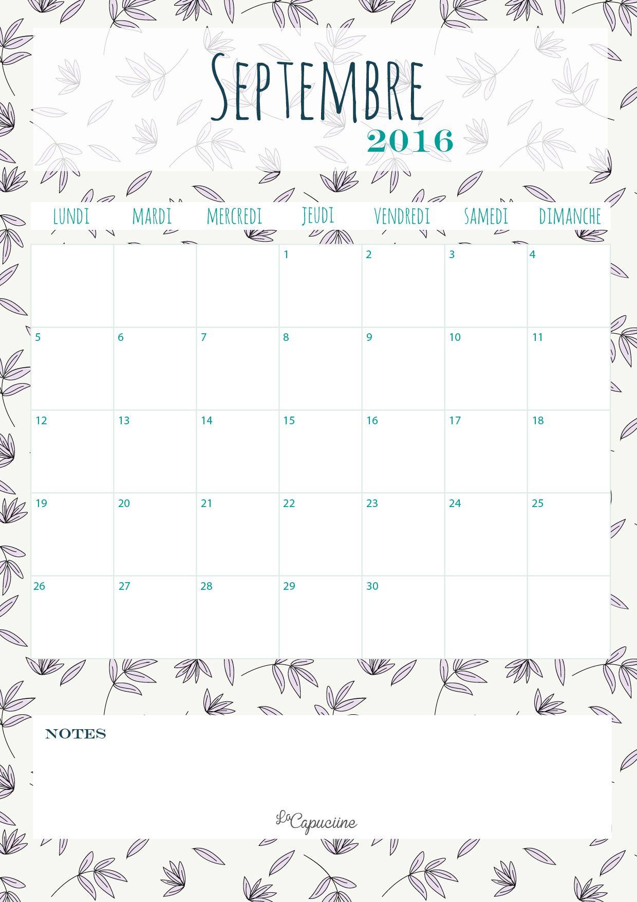 Calendrier septembre 2016 la capuciine pinterest calendrier septembre 2016 - Calendrier lune septembre 2017 ...