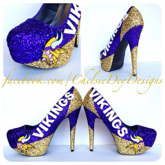 Minnesota Vikings Glitter High Heels by ChelsieDeyDesigns on Etsy ... 6dd51f47b