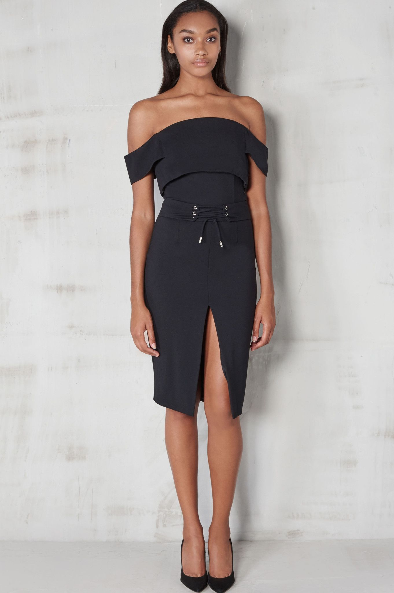 ea33163d6b5 Lavish Alice Black Off The Shoulder Corset Belt Detail Midi Dress ...