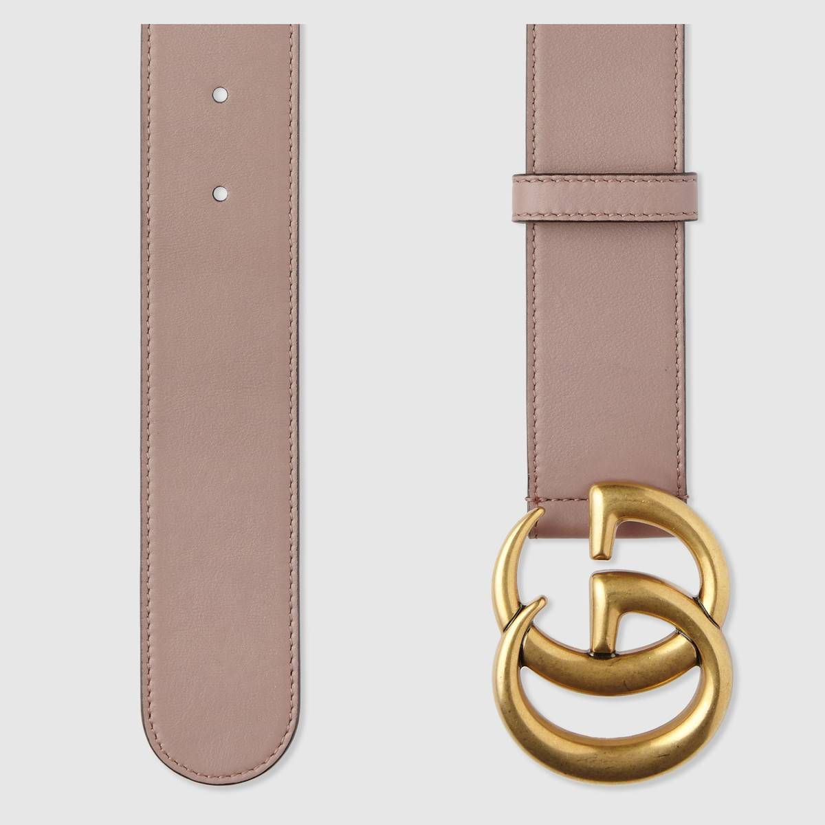 b28efa9afb0 Shop the Leather belt with Double G buckle by Gucci. A leather belt with Double  G buckle.