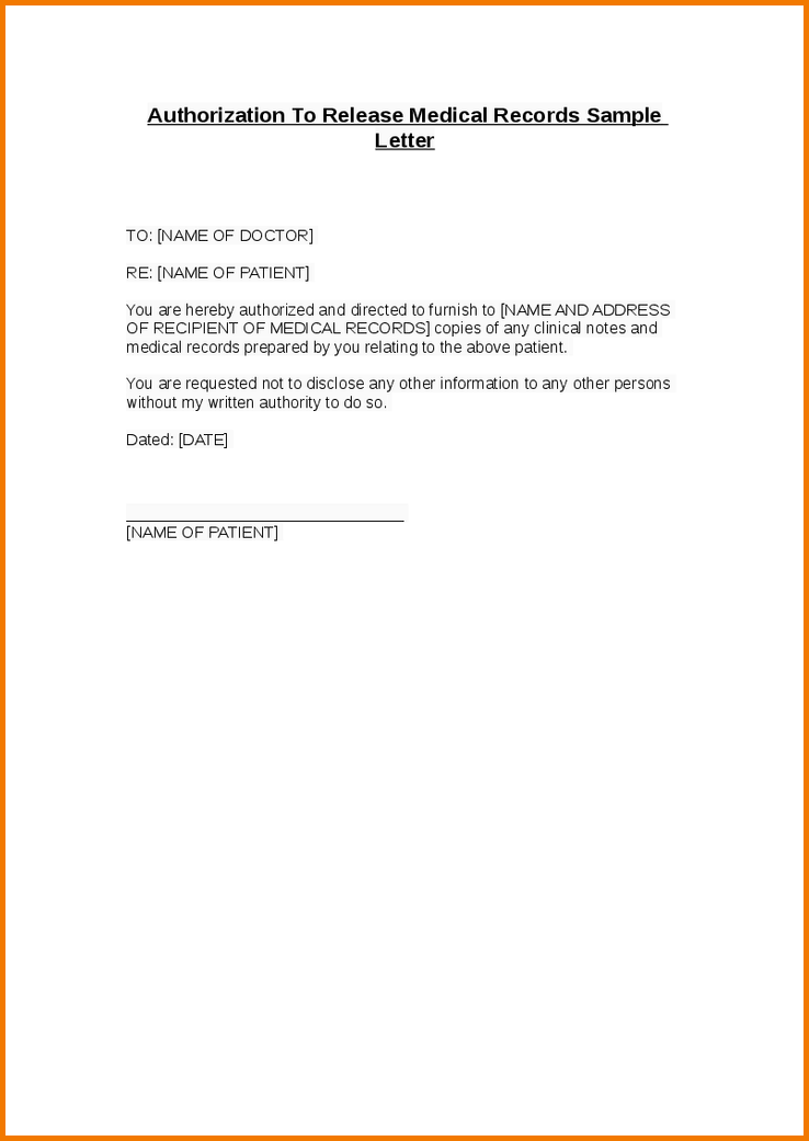Authorization Letter Release Information Pdf Sample Printable