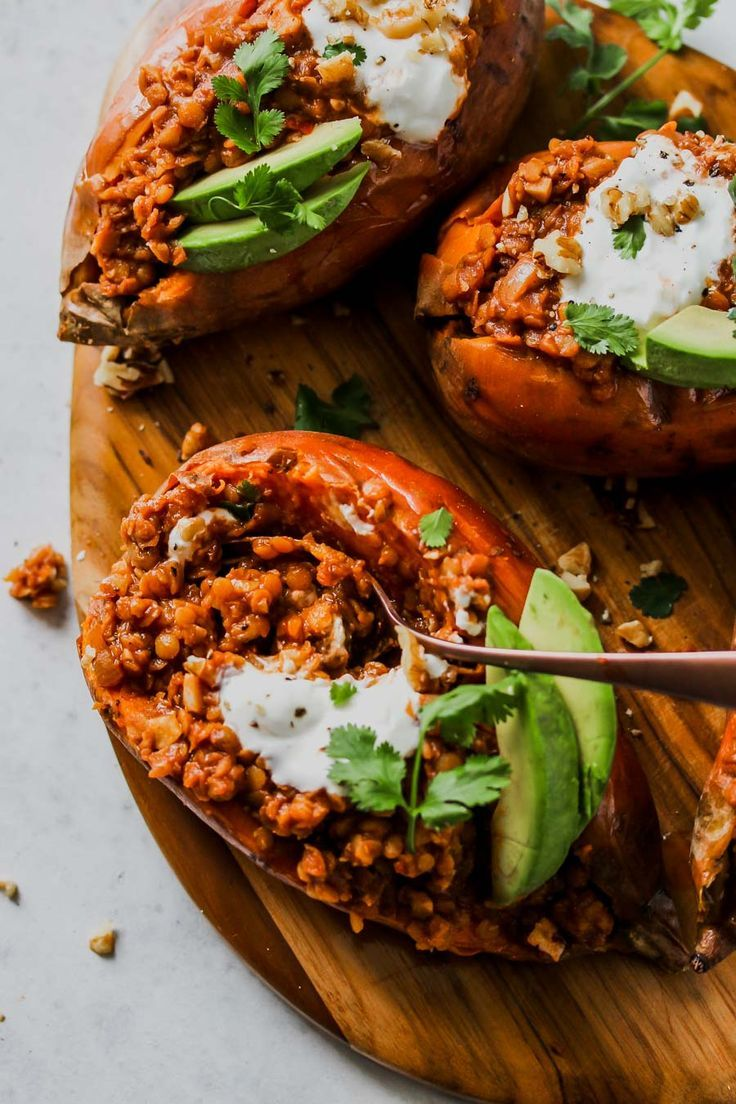Smoky Lentil Stuffed Sweet Potatoes