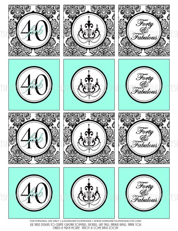 40th Birthday Damask Black And Aqua Printable Cupcake Toppers Sticker Labels Party Favor Gift Tags
