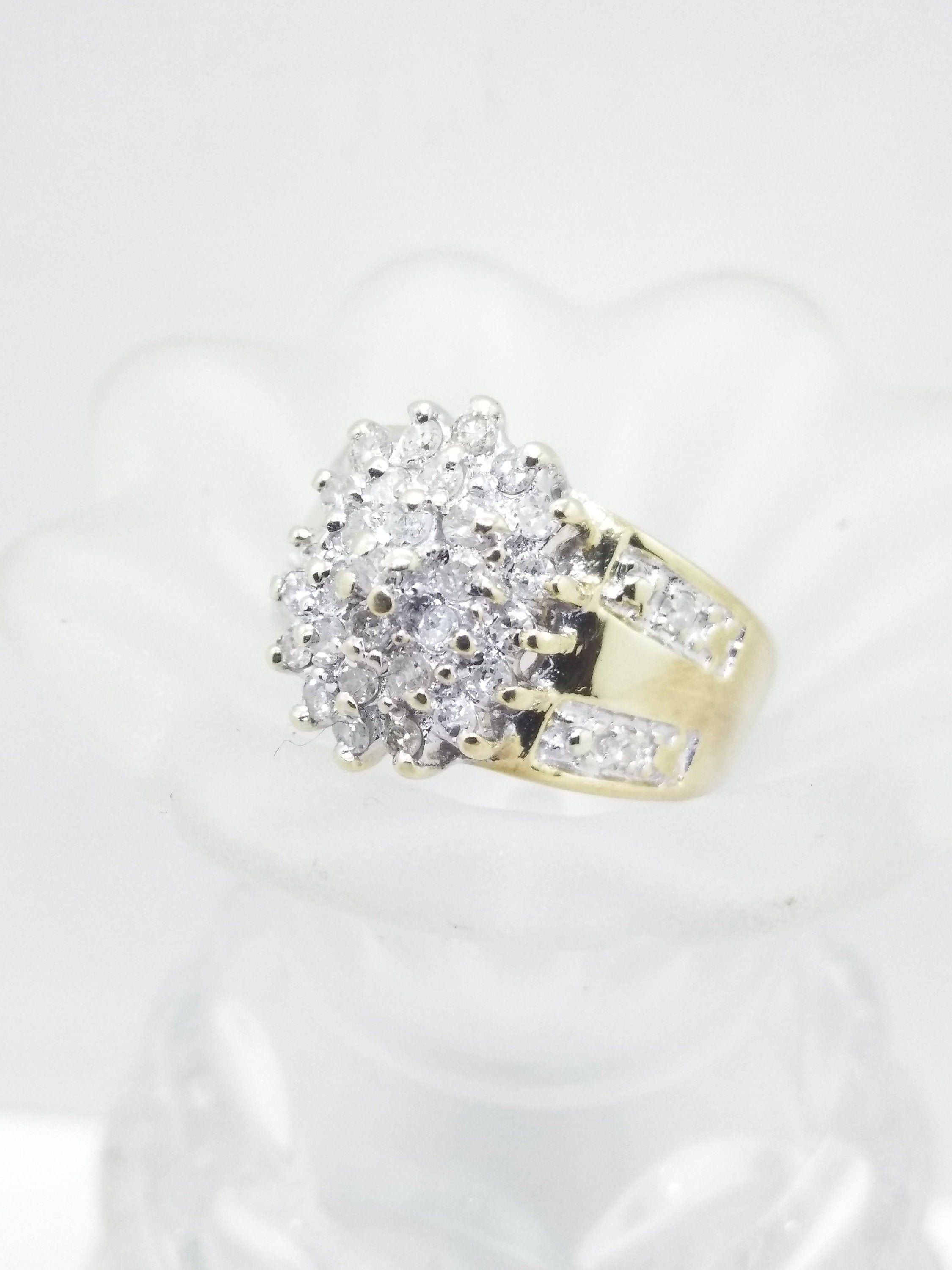 Size 7 10k Diamond Cluster Ring Solid 10k Gold Ring Etsy In 2020 10k Gold Ring Etsy Gold Ring Diamond Cluster Ring
