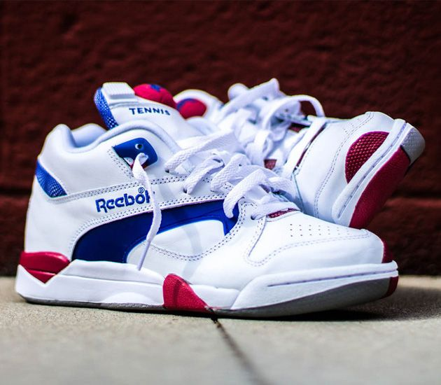 e75a1f455e45 Reebok Court Victory Pump - White   Royal - Crimson