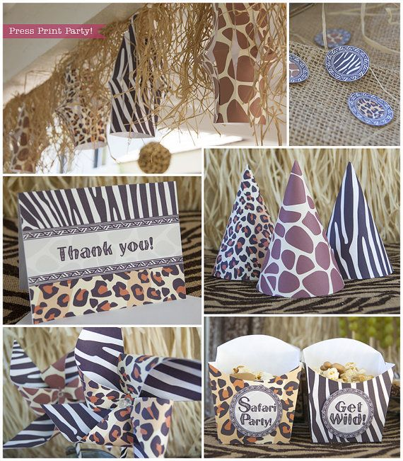 safari party printables animal prints party supplies. Black Bedroom Furniture Sets. Home Design Ideas
