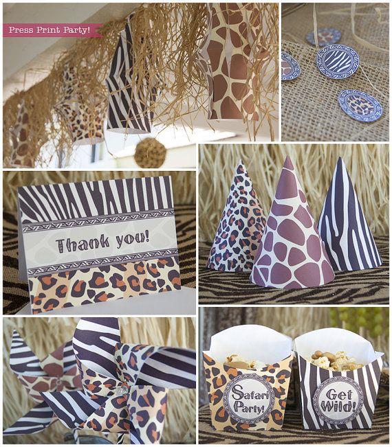 Safari Birthday Party Printable Set, Safari Animal Prints