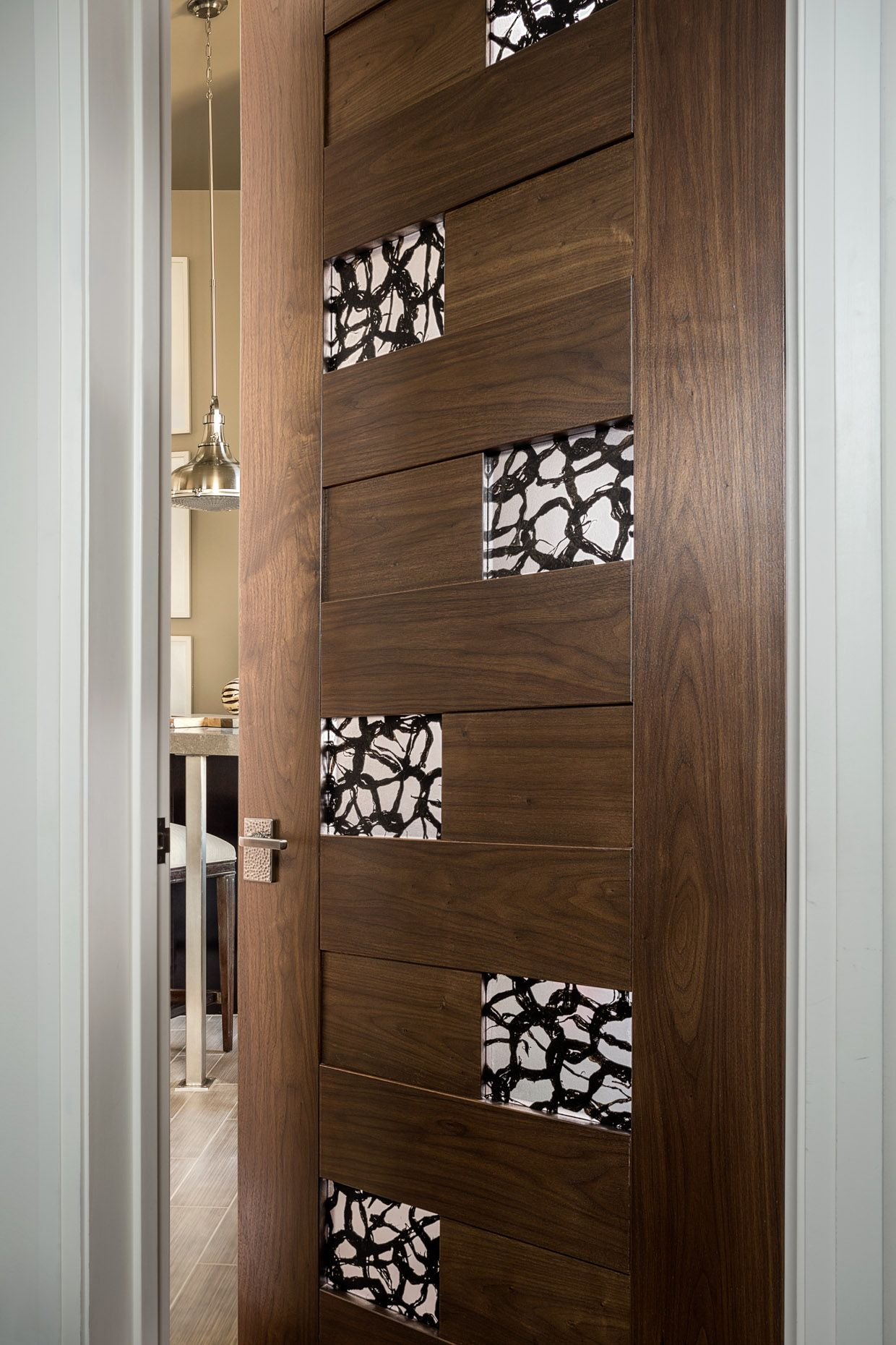 Trustile Modern Door Collection  Tm13420 In Walnut With 3Form