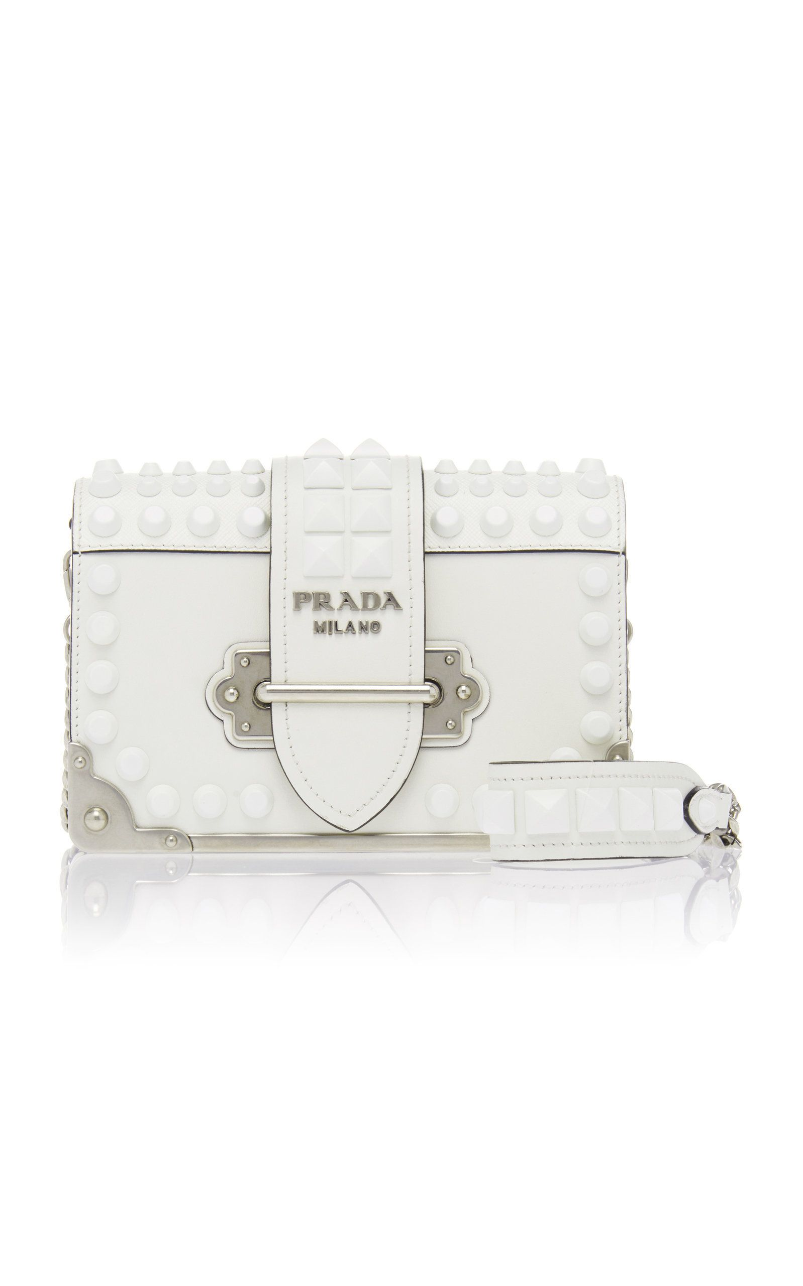 d865a4538f67 Embellished Cahier Leather Shoulder Bag by PRADA Now Available on Moda  Operandi