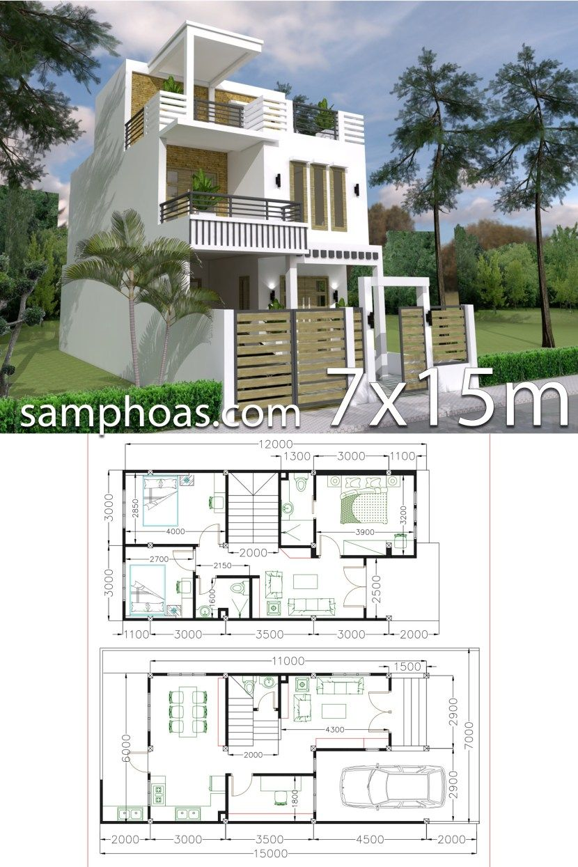 7x15m Simple Home Design Plan With 3 Bedrooms Samphoas Plan Simple House House Construction Plan Model House Plan