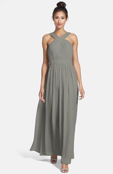 3727c8e781f ML Monique Lhuillier Bridesmaids Crisscross Chiffon Gown (Nordstrom  Exclusive)